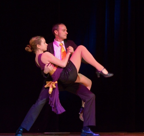 A rehearsal photo of the father/daughter team that won the Community Division of Dancing with the Ojai Stars.