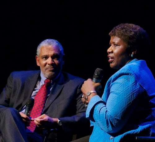 UCSB's Dean Melvin Oliver and PBS's Gwen Ifill. ISO 6400