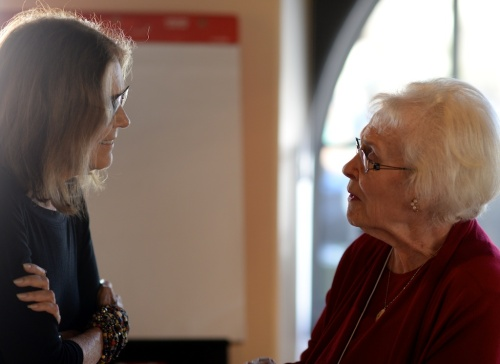 Strong backlighting was a challenge throughout. Here, Ms. Steinem chats with Sage Publishing founder Sara Miller McCune.